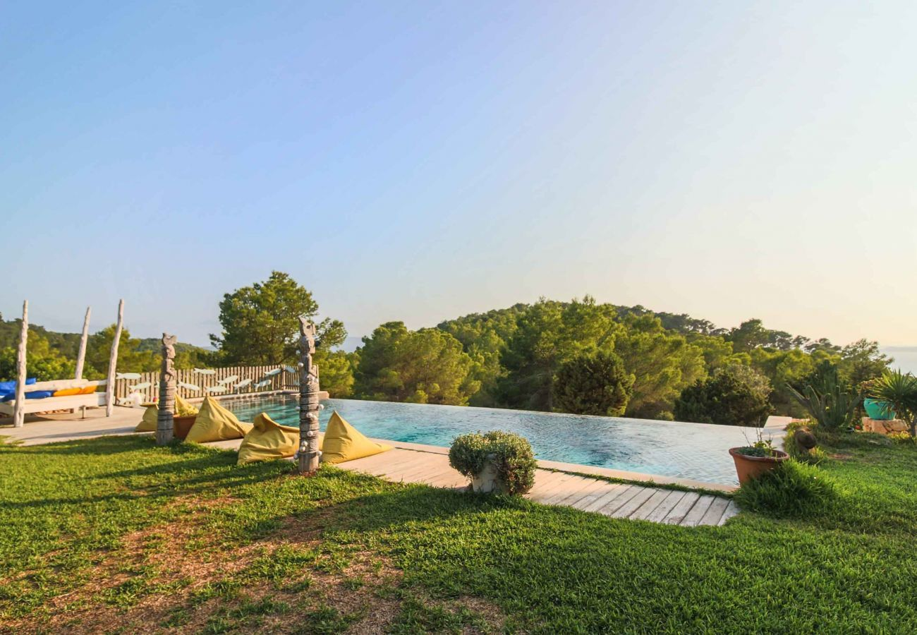 Pool and views from Villa Sarahmuk in Ibiza
